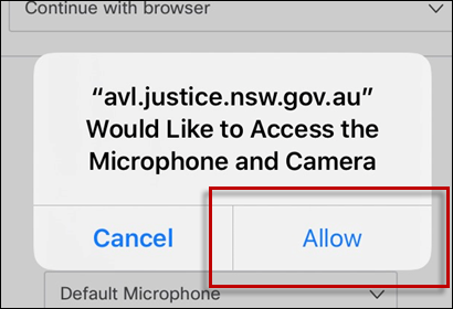 Image demonstrating how to allow access to your microphone and camera.